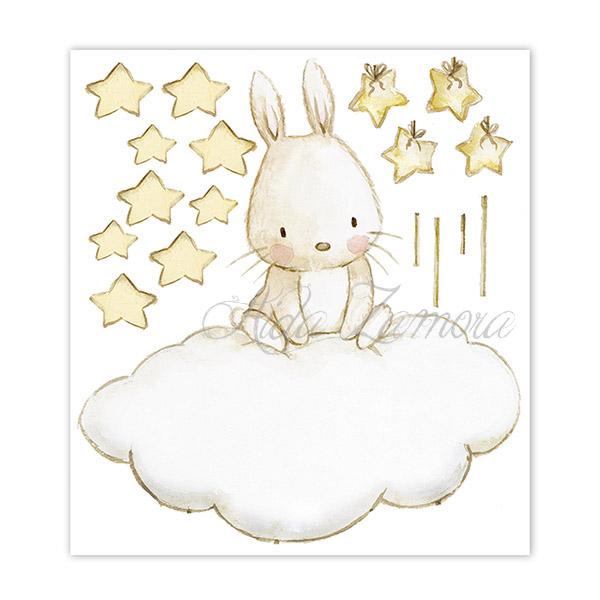 Lamina de vinilo infantil de tela Conejito con Estrellas