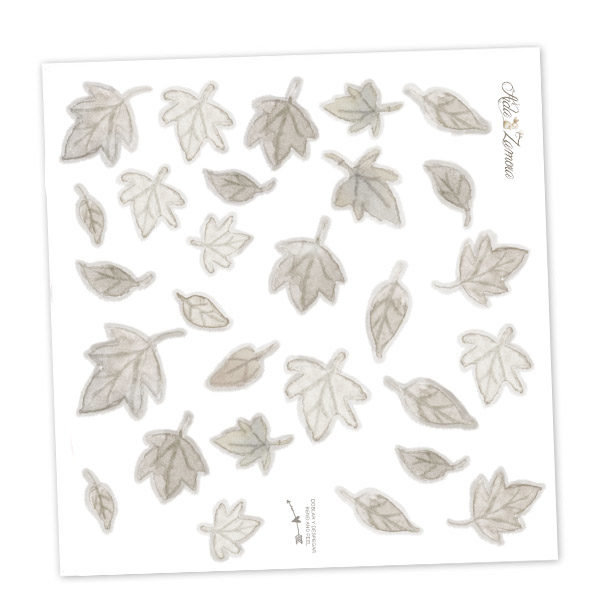 Grey Leaves fabric wall decal