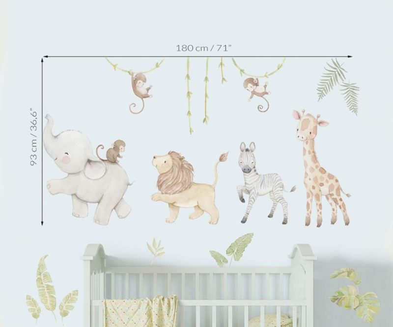 medidas vinilo infantil de tela safari