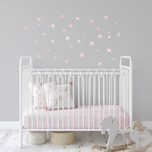 Pink Stars fabric wall decal