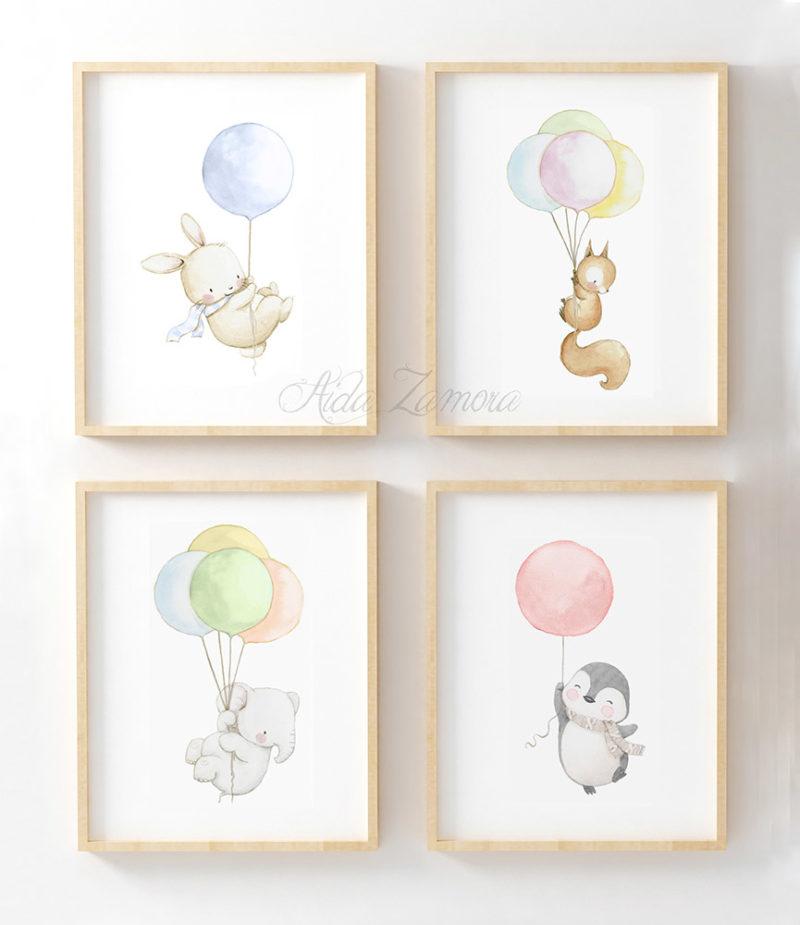 Set de cuatro láminas infantiles Animales con Globos Arcoíris