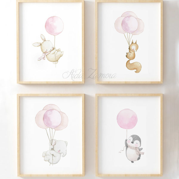 Set de cuatro láminas infantiles Animales con Globos Rosa
