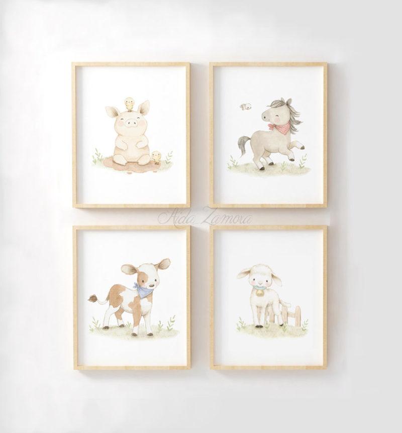 Set de cuatro láminas infantiles Animales de Granja