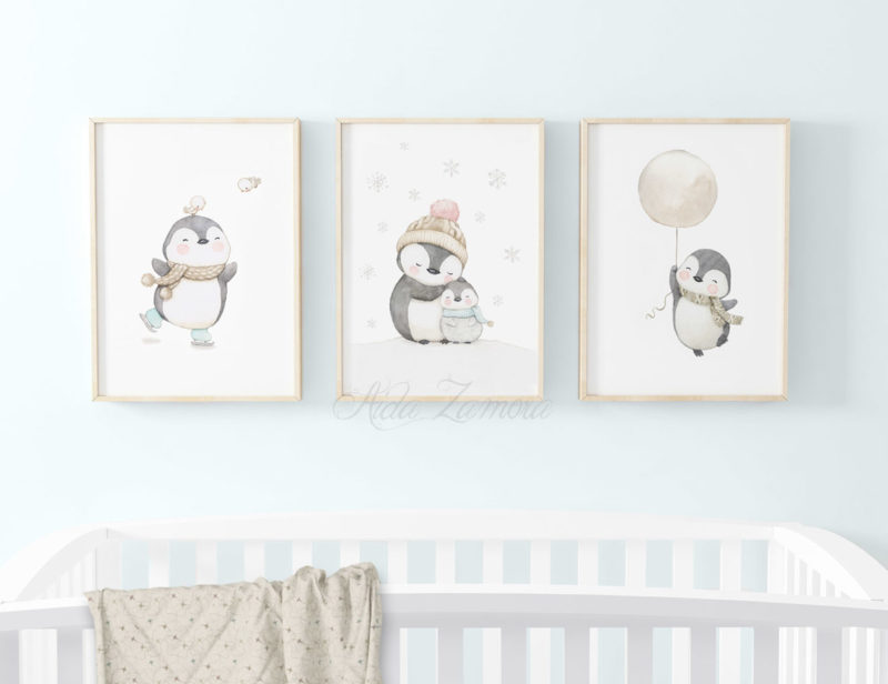 Set de tres láminas infantiles Pingüinos